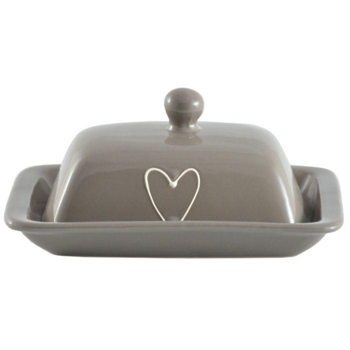 máslenka LOVELY(srdce) béž.keramika 19x13x8cm