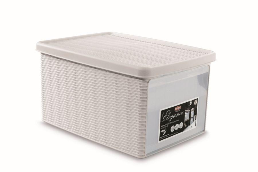 box 15,0l+víko z boku 39x29x21cm bílý ELEGANCE-M