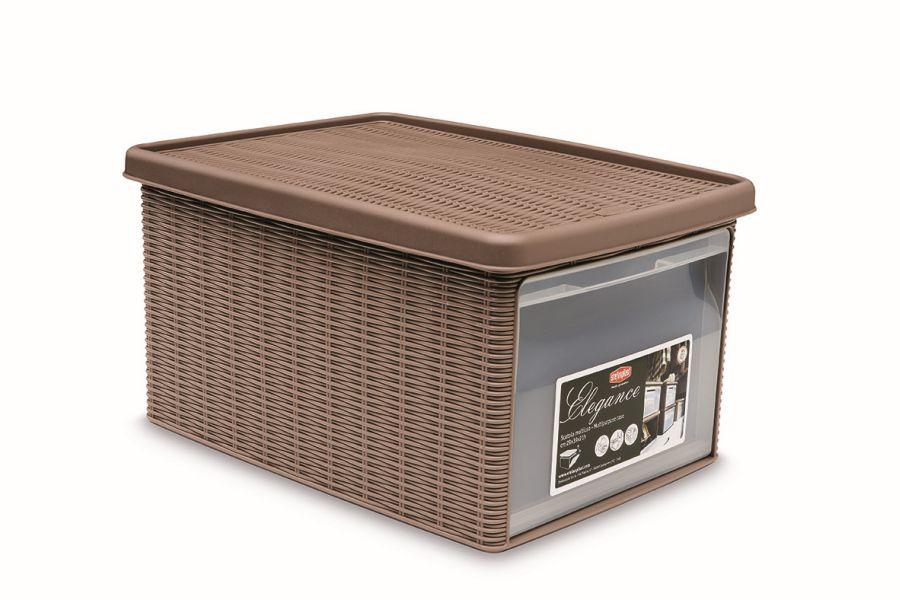 box 15,0l+víko z boku 39x29x21cm sv.hnědý ELEGANCE-M