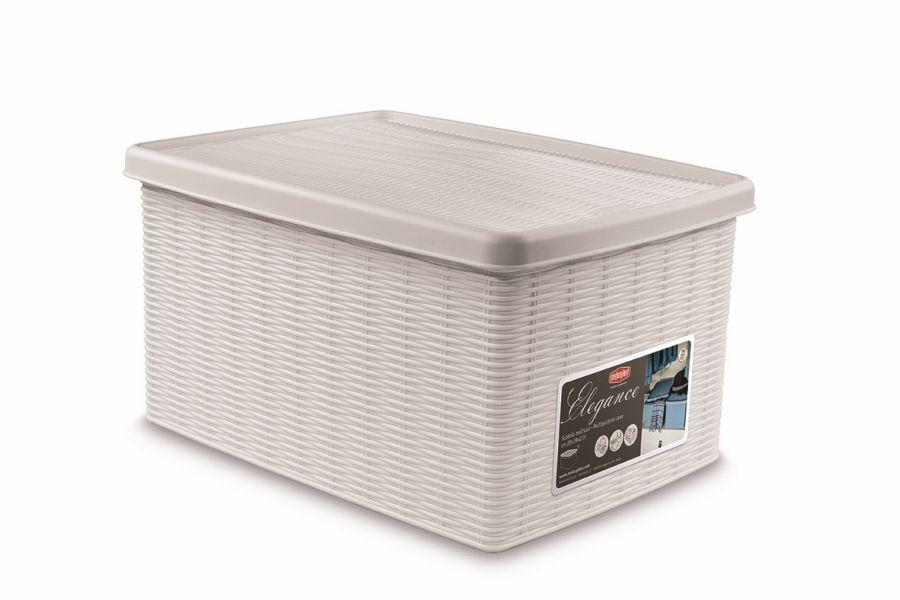 box 15,0l+víko 39x29x21cm bílý ELEGANCE-M, im.ratan