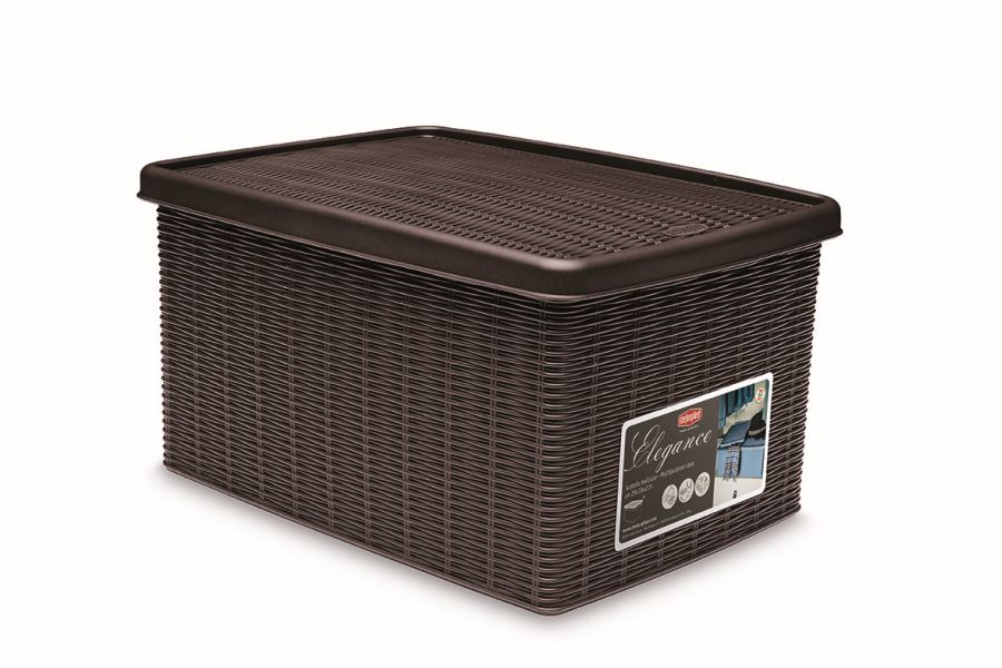 box 15,0l+víko 39x29x21cm tm.hnědý ELEGANCE-M, im.ratan
