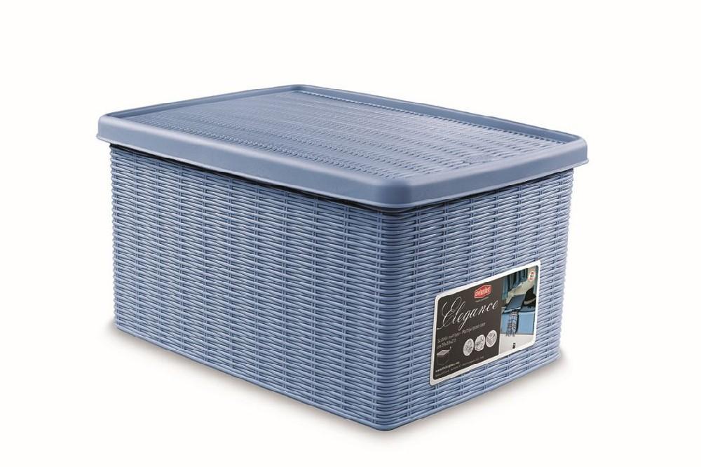 box 15,0l+víko 39x29x21cm sv.modrý ELEGANCE-M, im.ratan