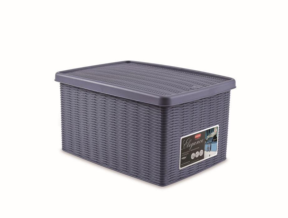 box 15,0l+víko 39x29x21cm tm.modrý ELEGANCE-M, im.ratan