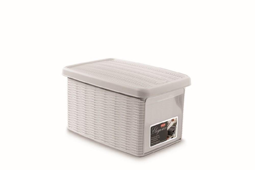 box  5,5l+víko z boku 29x19x16cm bílý ELEGANCE-S