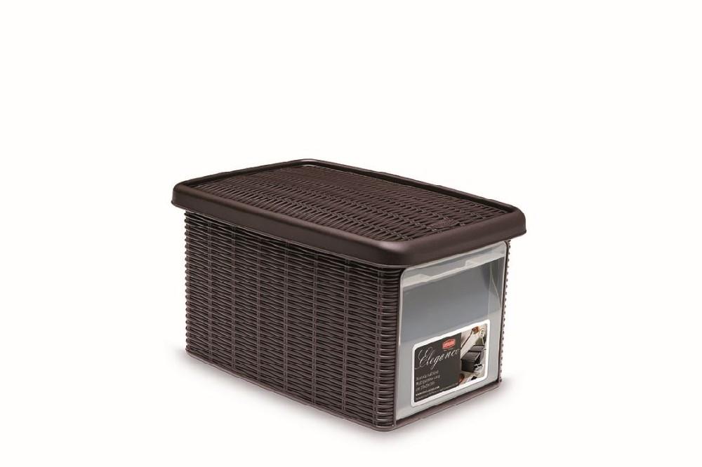 box  5,5l+víko z boku 29x19x16cm tm.hnědý ELEGANCE-S