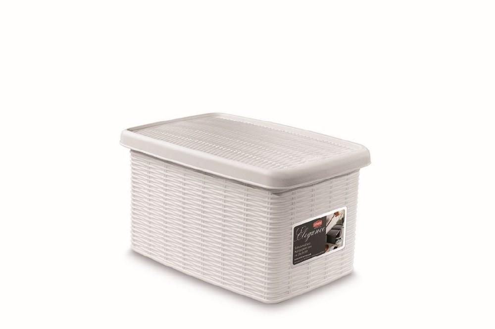 box  5,5l+víko 29x19x16cm bílý ELEGANCE- S