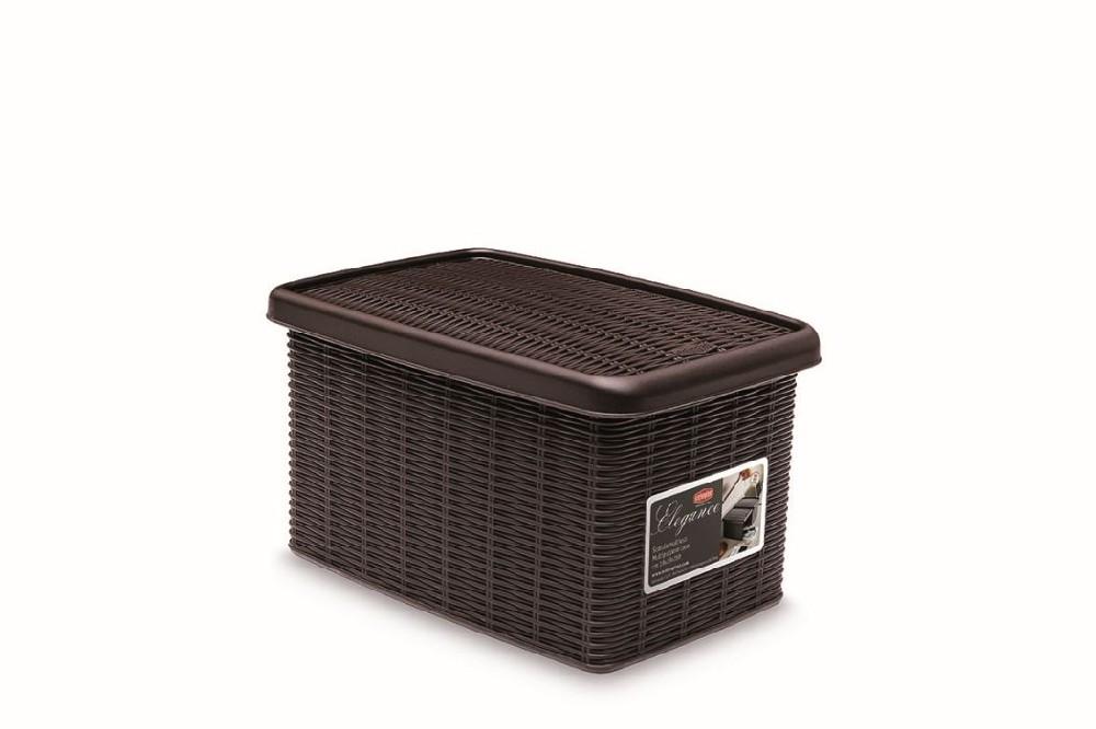 box  5,5l+víko 29x19x16cm tm.hnědý ELEGANCE-S