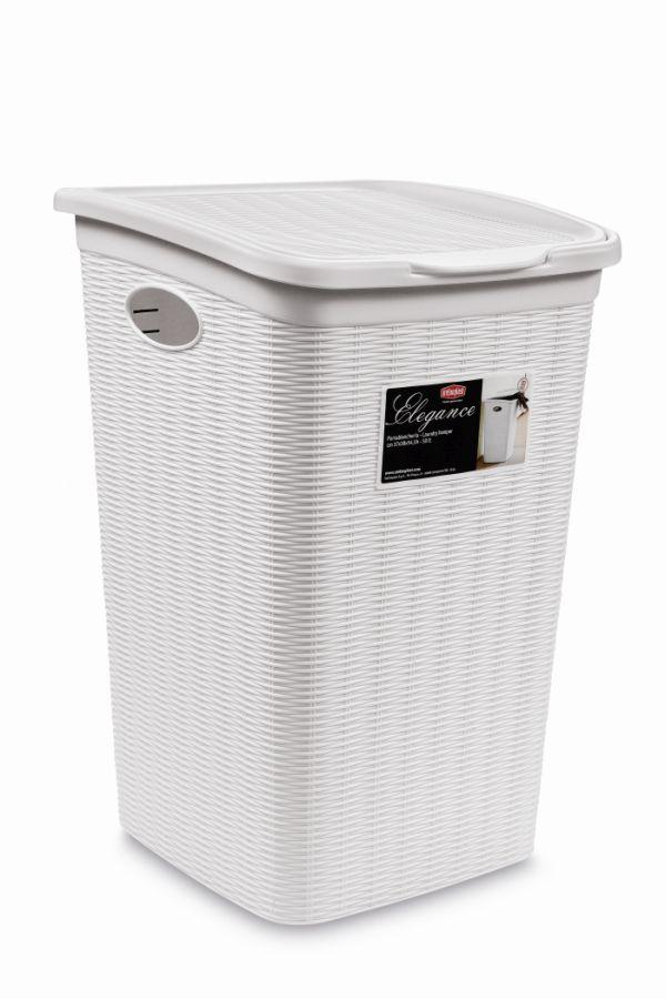koš 50l na použ.prádlo,bílý ratan, 54,5x38x37cm,ELEG.
