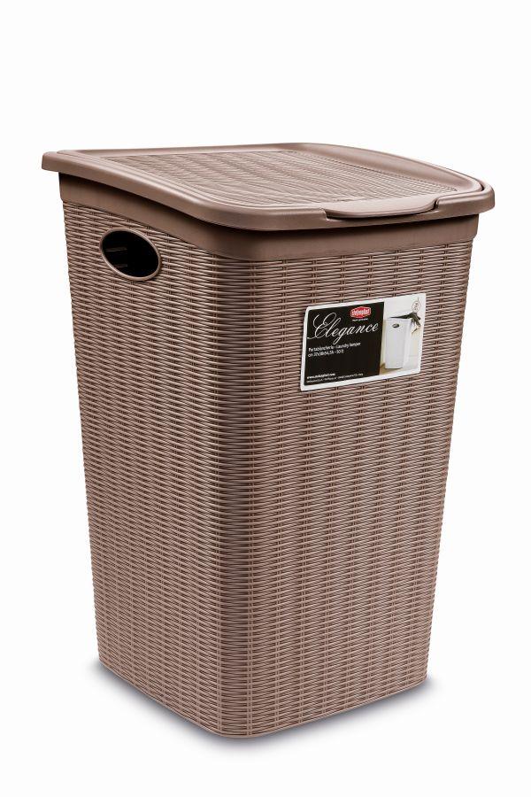 koš 50l na použ.prádlo,sv.hnědý ratan, 54,5x38x37cm,ELEG.