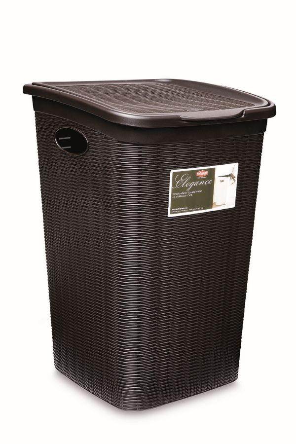 koš 50l na použ.prádlo,tm.hnědý ratan, 54,5x38x37cm,ELEG.