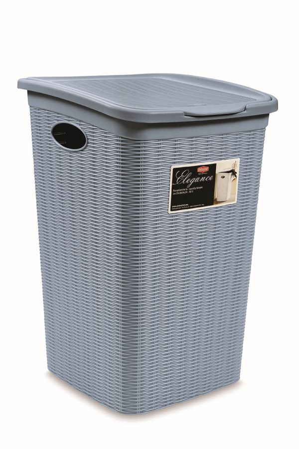 koš 50l na použ.prádlo,sv.modrý ratan, 54,5x38x37cm,ELEG.