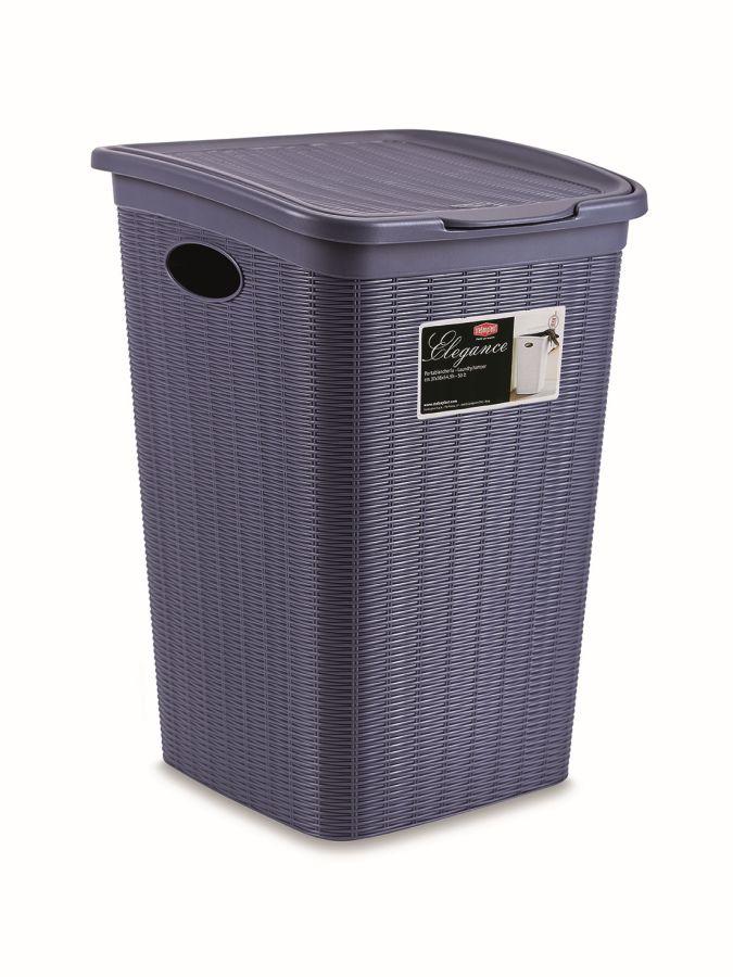 koš 50l na použ.prádlo,tm.modrý ratan, 54,5x38x37cm, ELEG.