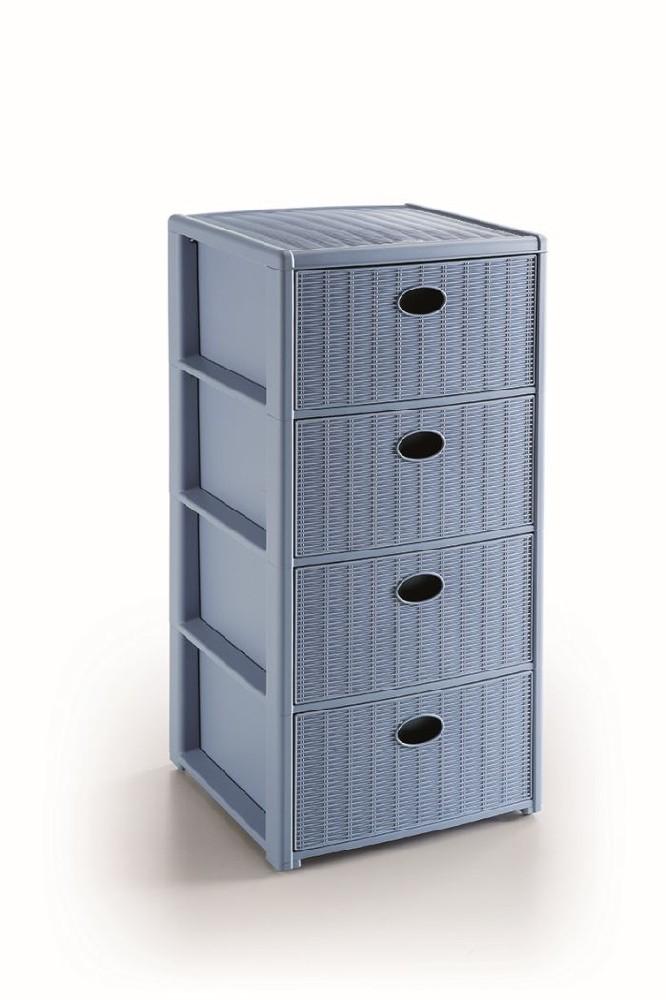 skříňka 4 zásuvky sv.modrá,80x40x40cm, im.ratan