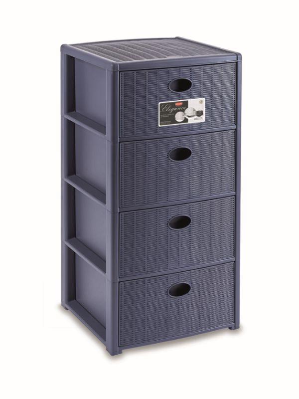 skříňka 4 zásuvky tm.modrá,80x40x40cm, im.ratan