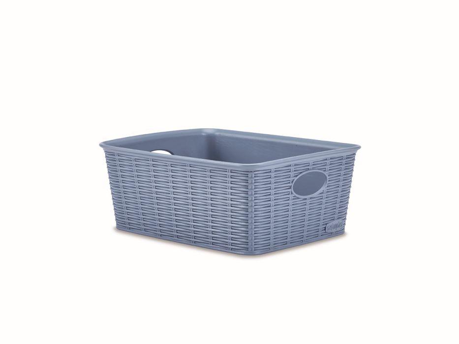 košík 25x19,5x10cm, sv.modrý ELEG.-M high, im.ratan