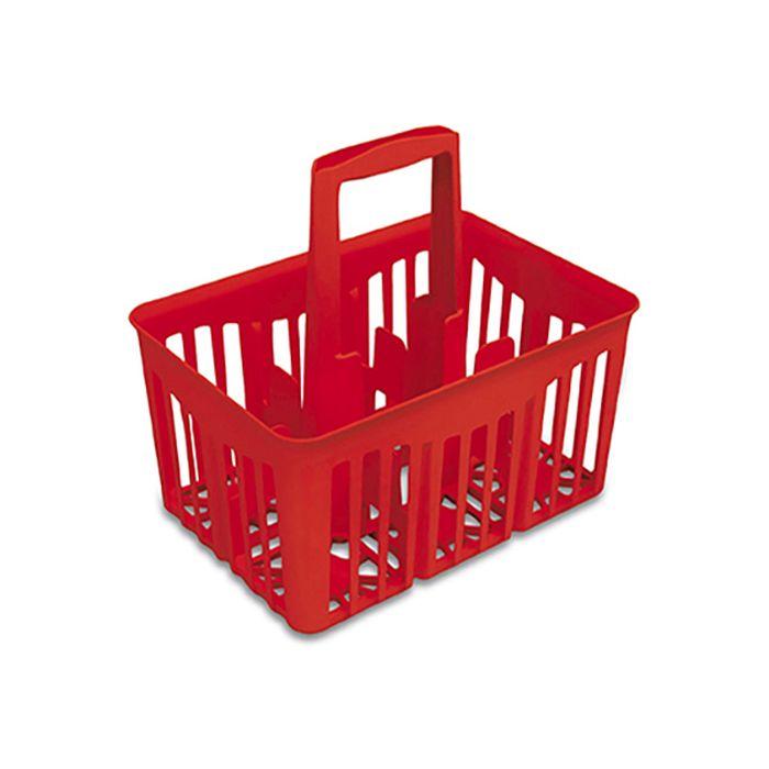 nosič 6ks lahví 1,0l, 30x21x28cm, červený, plast