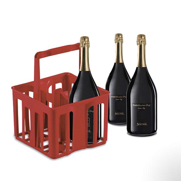 nosič 4ks lahví 2,0l, 25x25x32,5cm, červený, plast