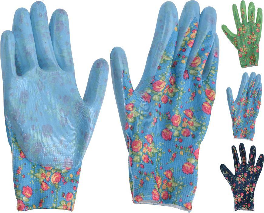 rukavice 1 pár, PES+PVC květ, .zahradní