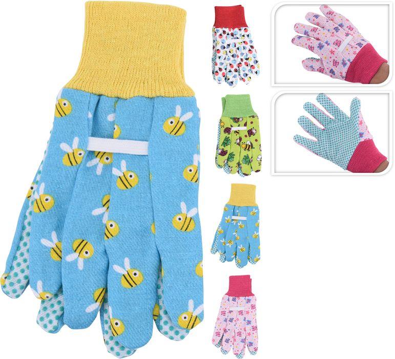 rukavice 1 pár, PES+PVC dekor, dětské,zahradní