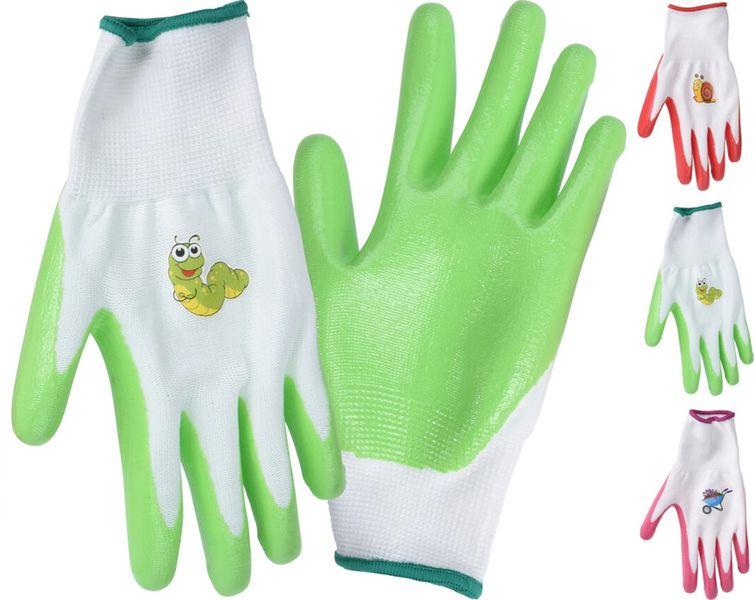 rukavice 1 pár, PES+PVC, mix barev, dětské,zahradní