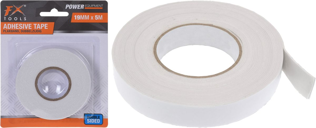 páska lepící oboustr., š.19mm, délka 5m, bílá
