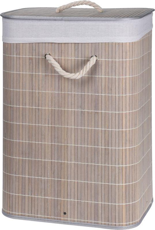 koš 60l na použ. prádlo 40x30cm, v.60cm, BAMBUS sv.šedý