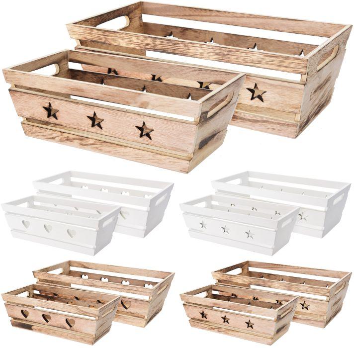 košík obd. set 2ks,  2dekory, dřevo