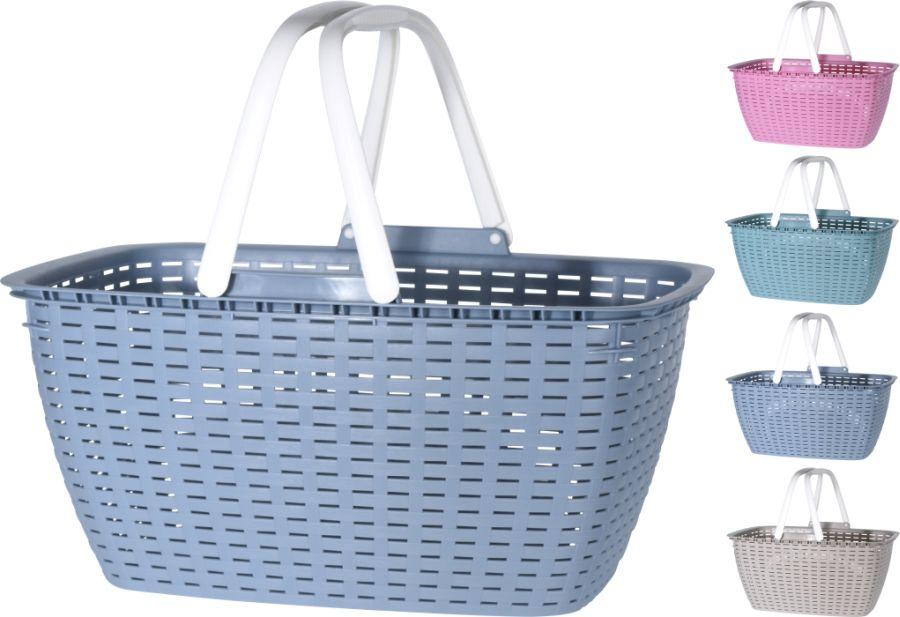 košík 43x30x21,5cm RATAN, nákupní, 4barvy, plast