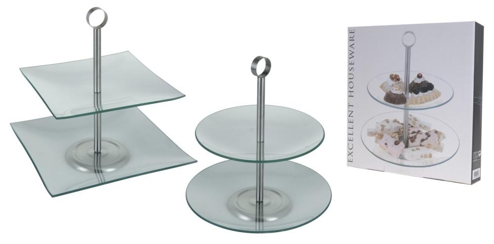 etažér 2patrový sklo+NR,čtverec nebo kulatý d21+d25cm,v16,5cm