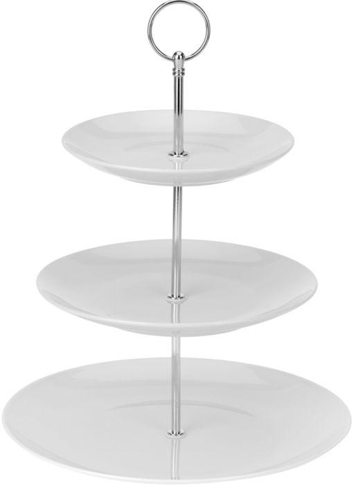 etažér 3patrový porcelán bílý+kov d16,5+20+25,v35cm