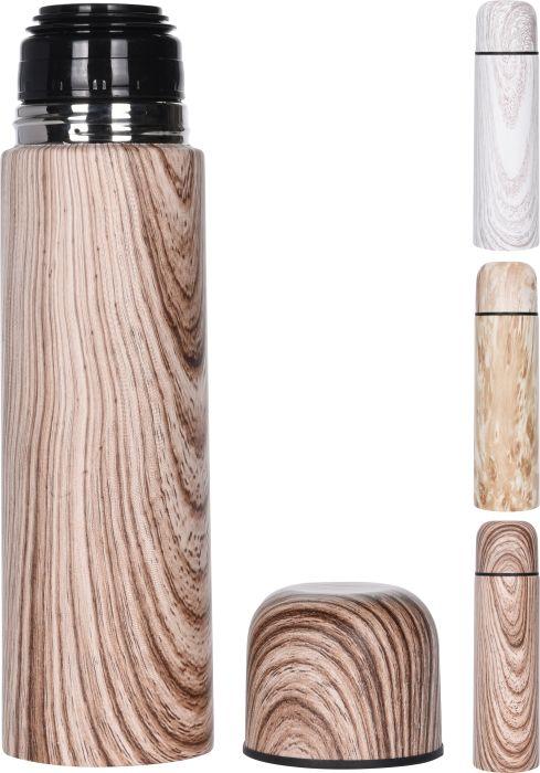 termoska 0,50l potisk, 3dekory, NR, imit.dřeva
