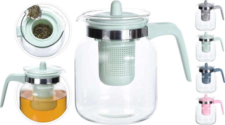 konvice 1,5l sklo/plast, 4barvy, na kávu