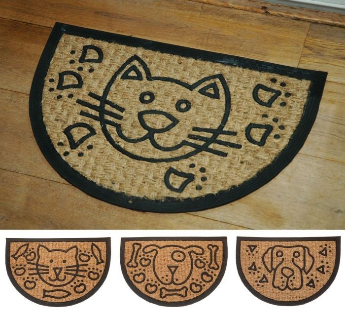 rohož  60x40cm PŮLKRUH pes,kočka, guma+kokos