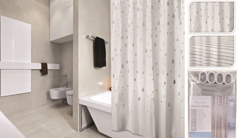závěs 180x180 PEVA koupel. 2dekory krémové