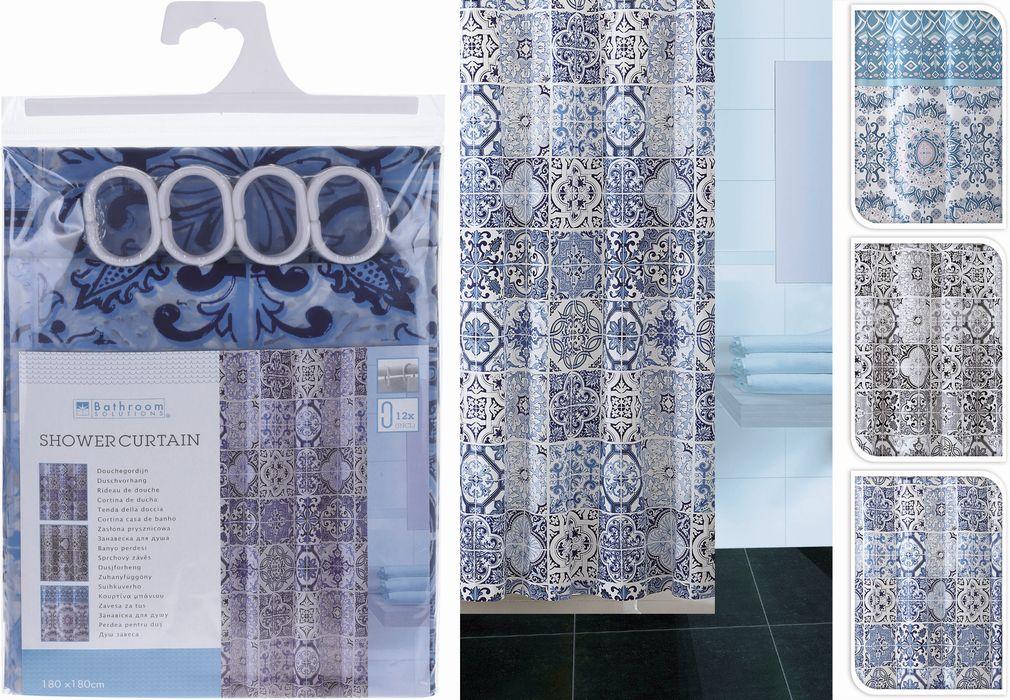 závěs 180x180 PEVA koupel. 3dekory modré