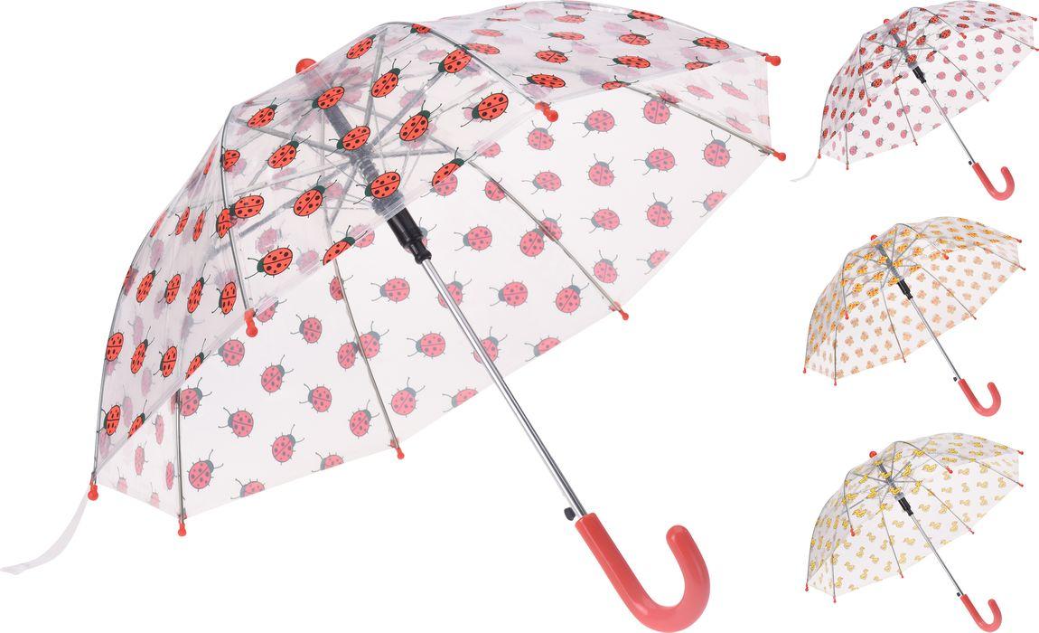 deštník d57cm, průhledný, dívčí, 3dekory, plast
