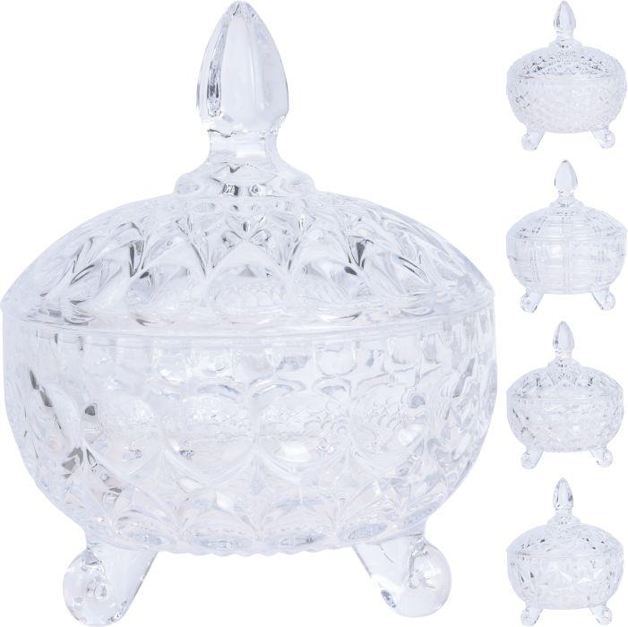 cukřenka d9,5x13cm, s víčkem, im.brus, 4druhy, sklo