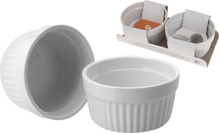 miska 260ml, d11x5cm, 2ks, bílá.zapék., porcelán