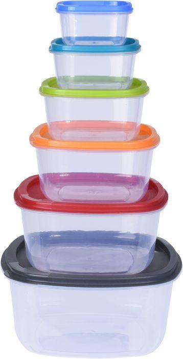 box 6ks sada (0,2/0,4/0,7/1,2/2/3,3l), barevný, plast