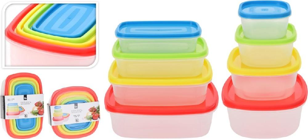 box-sada 8ks, obd. nebo čtver.,(0,23l -1l) barev.plast