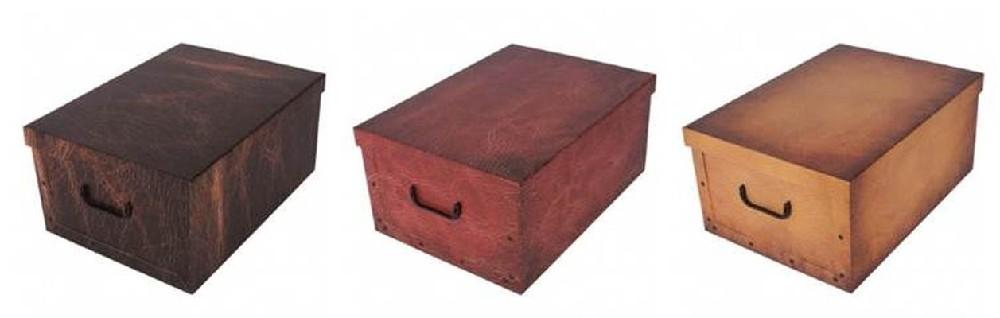 box 45l, 49,5x39x24cm 3druhy im.KŮŽE, papír