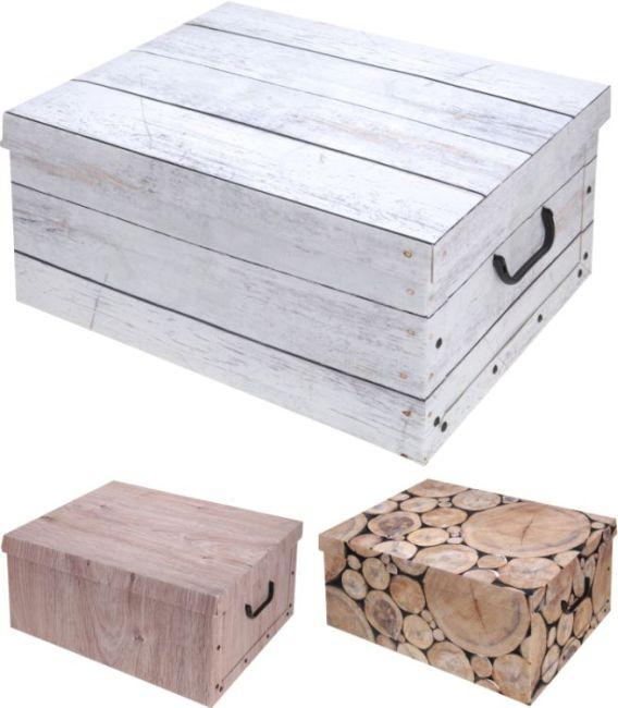 box 18l, 37x30x16cm, 3druhy, dek.DŘEVO, papír