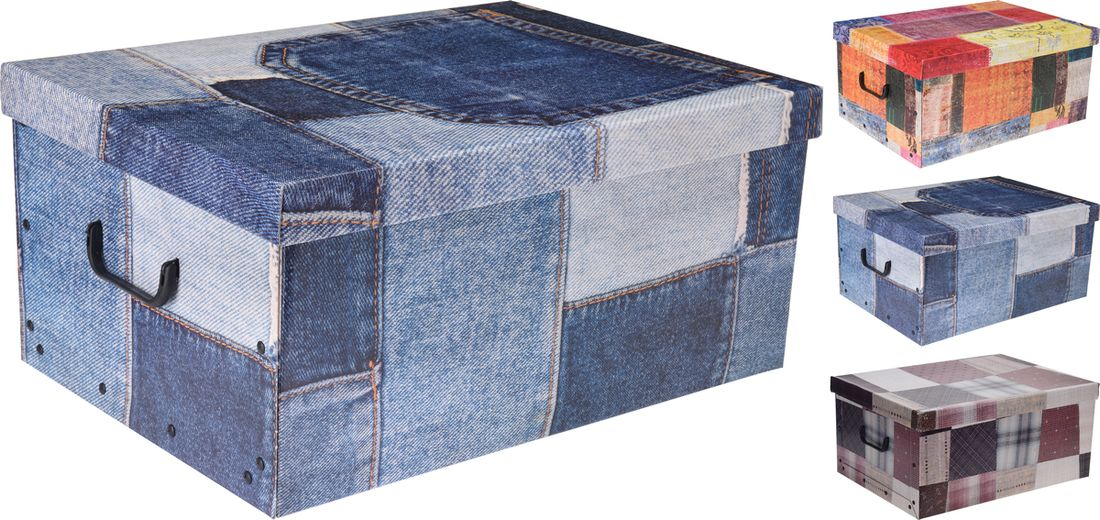 box 45,0l, 49,5x39x24cm 3druhy dek.LÁTKA, papír