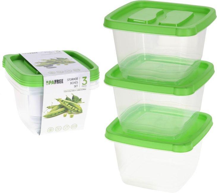 box-sada 3ks, 1360ml, čtver., zelený+transp. plast