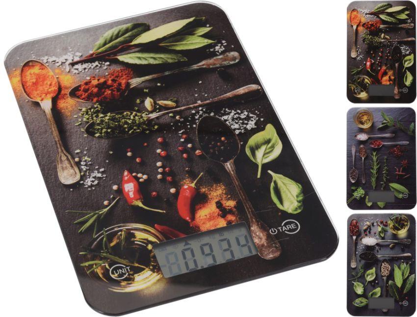 váha  5kg kuch.dig.,3 dekory-zelenina, 15x23cm, sklo