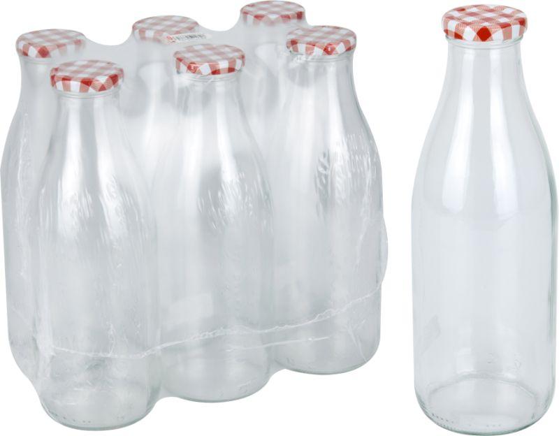 láhev 1,0l na mléko, víčko KÁRO, TO, sklo