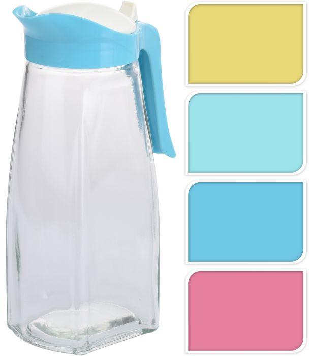 džbán 1,5l, plast.víčko 4barvy, sklo