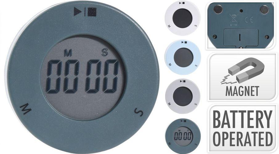 minutník digitální+hodiny, kulatý,4barvy,stojánek