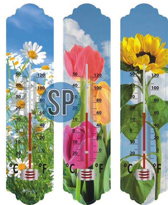 teploměr 29,5cm univ., -20°C+50°C, květiny, plast
