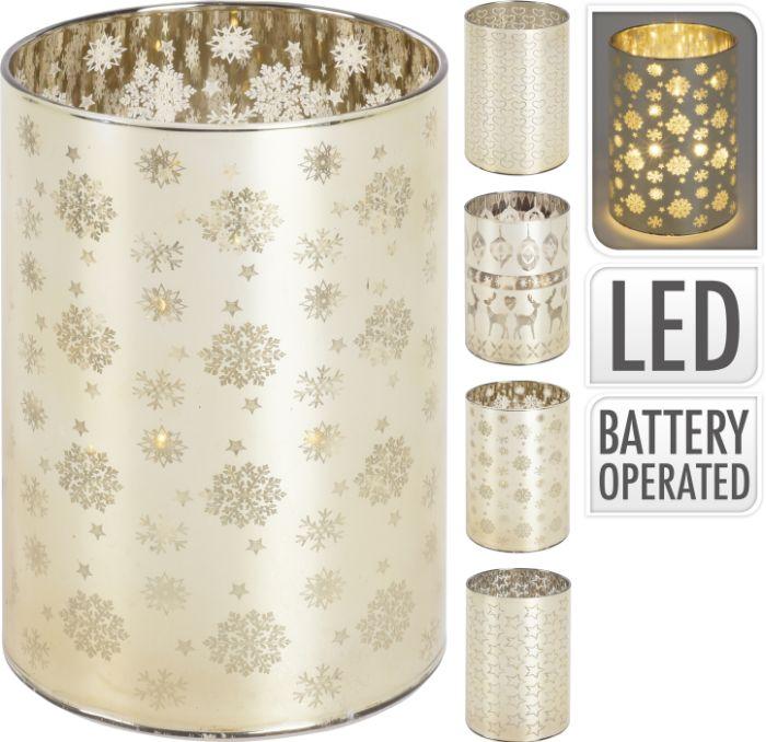 svícen d7,5x10cm zlatý, LED světlo, 4 dekory, sklo